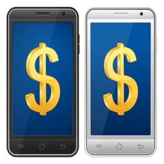 smartphone dollar symbol