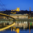 View of Saone river at Lyon by night