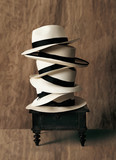 Panama hats stacked