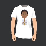 Young businessman printed on shirt. Vector design