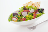 Healthy fresh mixed salad and crisp flatbread