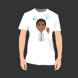 Unhappy businessman printed on shirt. Vector design