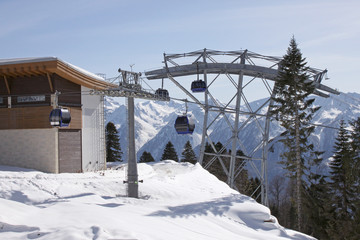 cableway station in Caucasian mountains at winter