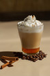 Image of tasty cup of coffe with cream