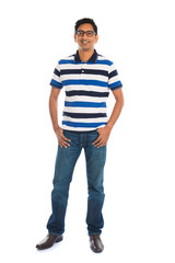 casual india male in white background full body