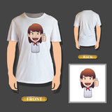 Happy redhead girl holding printed on shirt. Vector design.