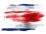 The Costa Rica flag painted on white paper with watercolor