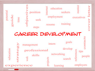 Career Development Word Cloud Concept on a Whiteboard