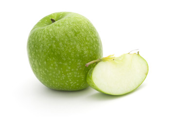 One green apple and one slice