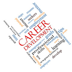 Career Development Word Cloud Concept Angled