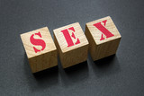 sex word on wood blocks