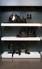 Shelves filled with woman accessories