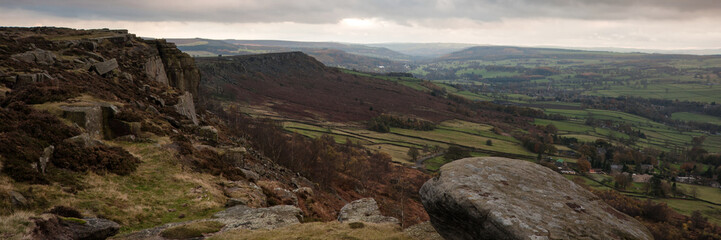 Panorama landscape Peak District National Park England in Fall