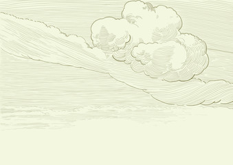 Vector  retro cloudscape background at engraved style