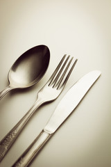 Cutlery. Fork, knife and spoon.