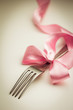 Fork  with decorative ribbon.