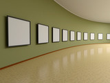 Abstract background. 3D render. Frame on the wall of the exhibit