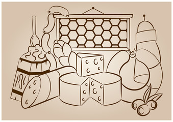 Vektörel Çizim Sarküteri Ürünleri