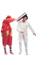 Crazy doctor and clowns playing on white background