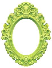 Cadre baroque ovale vert anis