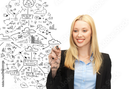 smiling businesswoman drawing big plan in the air