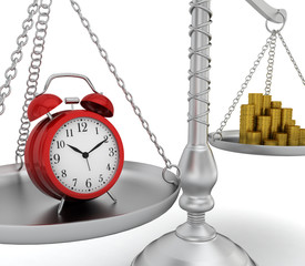 Alarm clock and coin stack on scales