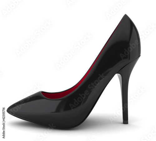 High heel black shoe