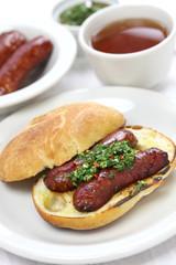 choripan, chorizo hot dog with chimichurri sauce, Argentine food