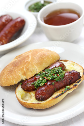 In de dag Buffet, Bar choripan, chorizo hot dog with chimichurri sauce, Argentine food