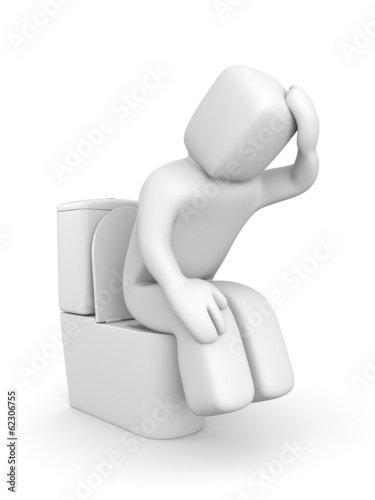 Person is sitting on the toilet bowl