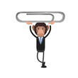 Business monkey holding a clip over white background