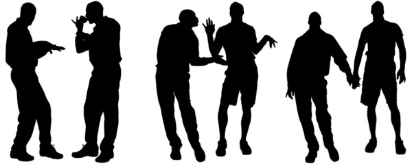 Vector silhouettes of gay.