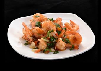 Comida china,ensalada de camarones y langostinos.