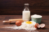 Flour, eggs and a bottle of milk