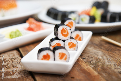 A set of traditional sushi