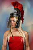 Gladiatrix in a shiny helmet with red feathers