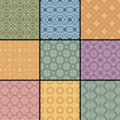 Vector set of  retro seamless patterns in color