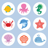 Vector set of cute cartoon sea animals