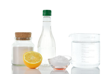Natural cleaners. Vinegar baking soda salt lemon.