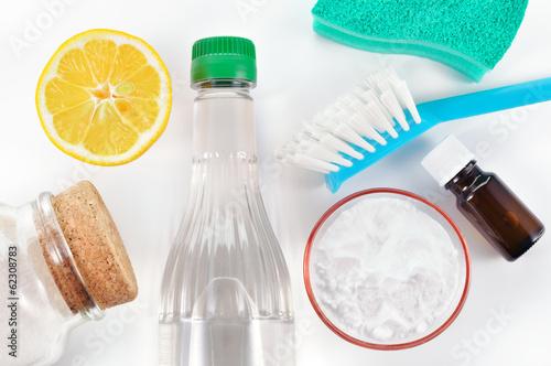 Natural cleaner. Vinegar, baking soda, salt, lemon - 62308783