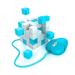 blue computer mouse connect to abstract cubes structure