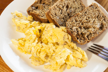 Scrambled eggs and Banana Bread