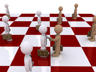 Two businessmen on chessboard shake hands