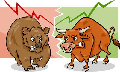 bear and bull market cartoon