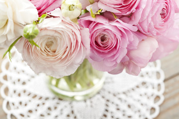 White and pink ranunculus (buttercup) in vase