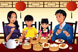 Chinese family eating dim sum