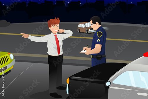Police conducting a DUI test for a drunk driver
