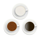 granules of instant coffee, sugar and coffee in white cup isolat