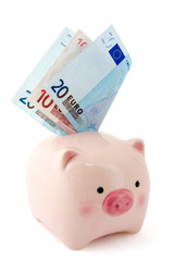 Piggy bank with Euro bills