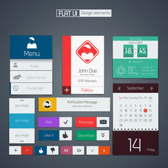UI elements for web and mobile.Icons and buttons.Flat design. Ve
